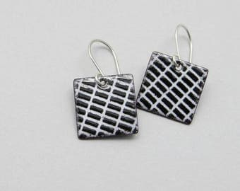 Black and White Earrings - Modern Square Earrings - Black and White Dangle Earrings - Modern Enamel Jewelry - Gift for her