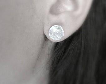 Sterling Silver Round Stud Earrings, Minimalist round post earrings