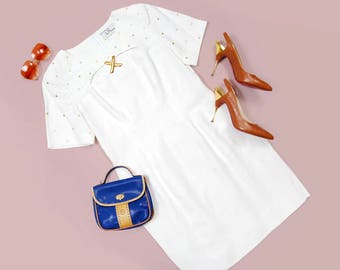 90s DL Deborah Law white linen-blend short sleeve mini dress with gold studs and cut out neckline - SIZE Medium