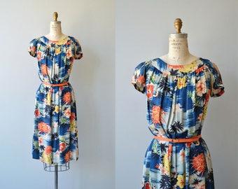 Paradise Isle rayon dress | vintage 1950s Hawaiian dress | 1950s floral mumu