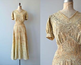 Andhra dress | vintage 1930s indian cotton dress | long 30s block print dress