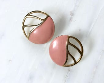 Et Al earrings | vintage enamel earrings | 1960s Monet clip on earrings