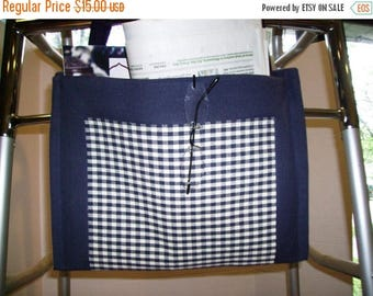 ON SALE Walker Bag Tote Navy Gingham and Boarder