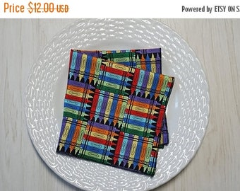 SALE Cloth Napkins Back to School Crayons Set of 6