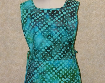 Sea Glass apron Tunic batik print cobbler cotton 2 section pocket side ties unlined top stitched turquoise aqua sea weed brown smock style
