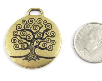 TierraCast Pewter Pendant-Antique Gold TREE OF LIFE (1)