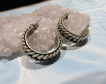 Mexico Sterling Semi Circle / Half Hoop Earrings Rope Twist with silver bead center 10.8 grams 11g134