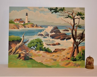 Paint By Number Vintage Lighthouse and Seashore
