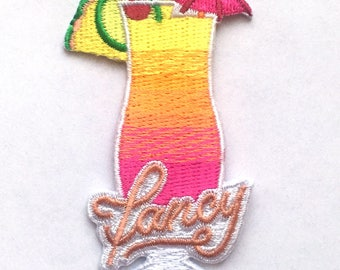 """Fancy 1.5"""" x 2.75"""" Patch, Cocktail, Tipsy patch, Drunk patch, American Flag, Patriotic Patch, Embroidered Patch"""