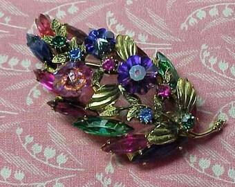 Vintage Multi color Rhinestone Leaf Floral Spray Brooch pin