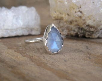 Moonstone Ring, Statement Ring, Stacking Ring, Gift for Her, Cocktail Ring, Sterling Silver Ring, Pear Shape, Rainbow Moonstone