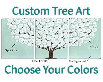 Custom 3 Piece Canvas Art, Large Tree Painting Wall Art Home Decor - Customize Your Colors - 50x20