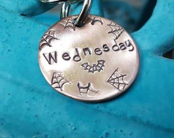 Bat and spider webs Pet tag, spider web pet tag,  pet tag, Personalized pet tag, custom pet tag, hand made pet tag, copper pet tag