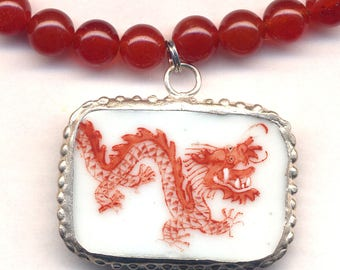 Red Dragon Necklace, Porcelain Dragon Pendant Necklace, Jewelry by AnnaArt72, Carnelian Onyx Necklace, Red Orange White Necklace