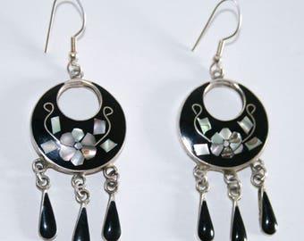 Black and Abalone Alpaca Mexico Dangle Earrings