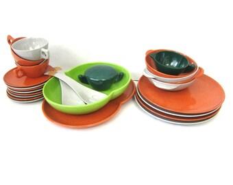 Retro Green Orange Gray Colorflyte Plastic Tea Cups Saucers Plates Creamer & Sugar Bowl 60s Mugs Salad Bowl Tongs Vintage Kitchen Dishes GS