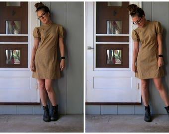 60s Mini Dress Olive Green White Mod Shift Dress Twiggy Polka Dot Puff Sleeve Retro Minidress Prairie Day Dress Boho Girl Womens XS