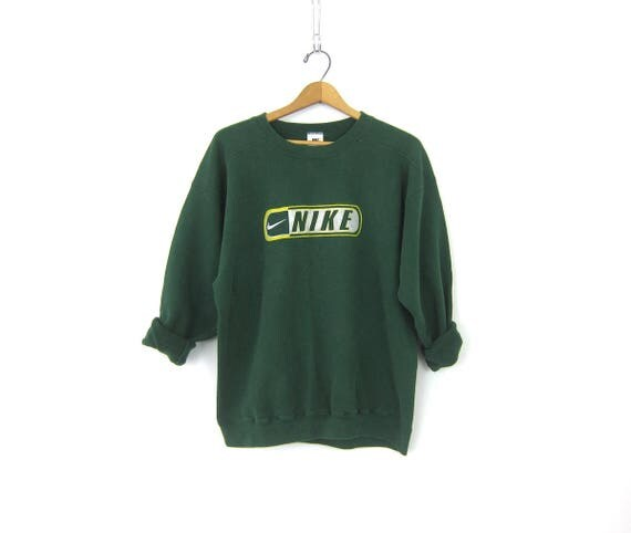 vintage NIKE sweatshirt Green sweatshirt slouchy Distressed sweatshirt ATHLETICS Sports Sporty Swoosh Logo Emblem workout Size Medium