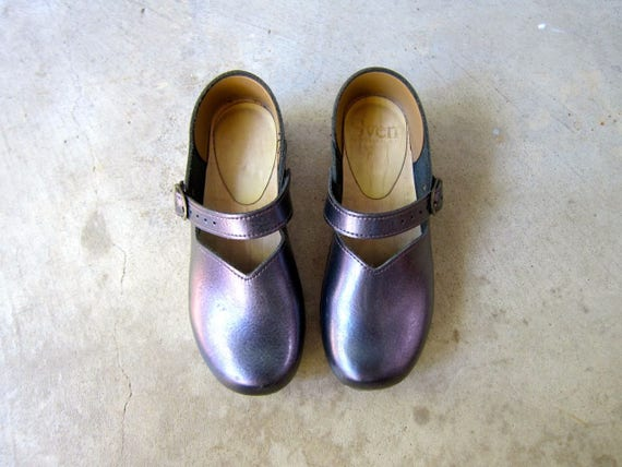Vintage SVEN Swedish Clogs Leather Wooden Clogs Wood Heal Sandals Buckled Clogs Metallic Iridescent Grey Purple Leather Clogs Womens EUR 40