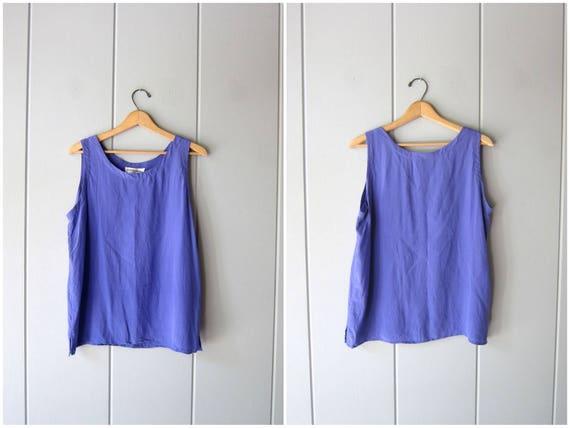 Modern Silk Tank Top Sleeveless Silk Blouse 90s Minimal Silk Top Purple Loose Fit Slouchy Top Silk Boho Chic Vintage Womens Medium Large