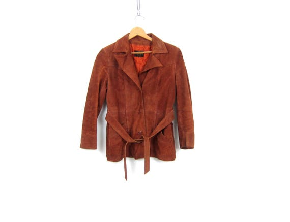 Rusty Brown Suede Coat Women's Leather Coat Button Up and Belted Jacket Bohemian Hippie Vintage 60s 70s Coat Womens Size Small