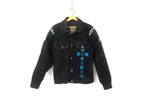 Black Suede leather Coat FRINGE Moto Biker Jacket Silver Conchos and Beads Turquoise Beading Vintage Motorcycle Coat Size Large