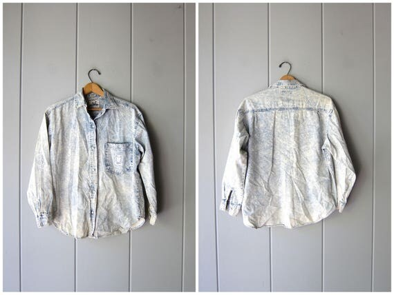 80s acid wash Jean shirt thin cotton denim jean shirt bleached faded worn in distressed button up shirt vintage 80s shirt Mens Small