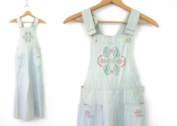 Soft Denim Bibs Dress Vintage 1970s Jumper Bibs POCKET Dress Embroidered Long Hippie Festival Dress MN Women's size medium large