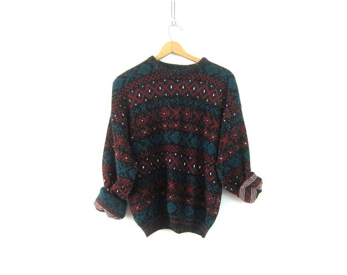 Retro Sweater 1980s Pullover Crewneck Sweater Graphic Knit Ski Sweater Black Red Boyfriend Jumper Men's Size Large XL
