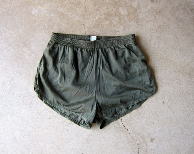 Army Green Nylon Running Shorts Elastic Waist Athletic Booty Shorts Summer Resort Vacation Wear 80s Sporty Lounge Shorts Women's XS XXS