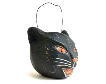 Vintage Halloween Black Cat Bucket ~ Cody Foster hand painted cat face trick or treat bucket~ 50's style Halloween decor~ Paper Mache cat