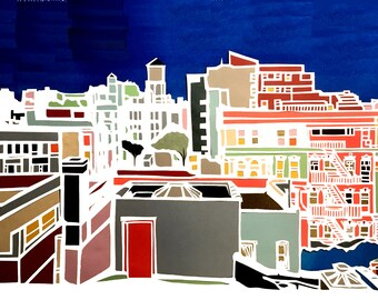 Multilayer Multicolor New York City Rooftops Papercut Ketubah - NYC - with Central Park Boathouse - custom calligraphy