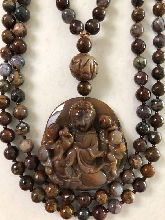 Pietersite and Agate Mala/Prayer Beads