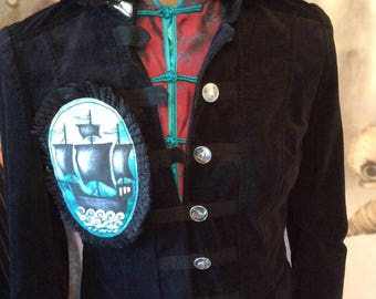 SALE Gothic Jacket black velvet bustle gypsy boho goth lolita sailor galleon painting pirate renaissance size 38 chest Coupon Code RGCSALE