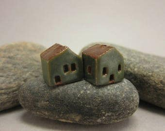 READY TO SHIP...Miniature Terracotta House Beads...Set of 2...Metallic Green Walls/Brown Roof
