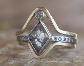One of a Kind Geometric Salt + Pepper Diamond Ring with Pavé Band
