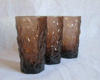 Vintage Seneca Glass Driftwood Flat Iced Tea Tumblers Brown 3