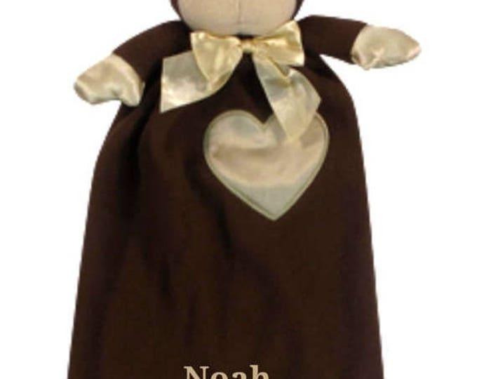 SALE Embroidered Monkey Minky Security Blanket, Free Personalization Security Blanket, Embroidered Baby Keepsake