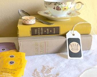 Tea Lover Book Lover Gift Box Matching Tea Cup and Saucer 2 Vintage Books Tea Bags Candle Bookmark Silver Spoon Vintage Cloth Napkin