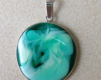 Sandbeads Italian Fused Glass Pendant and Sterling Silver