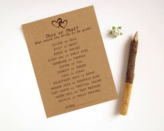 How Well Do You Know the Bride Game - Rustic Bridal Shower Games - This or That Game - Fun Bridal Shower Game - Custom Bride to Be Game