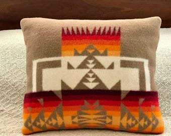 Wool Decorative Pillow / Accent Pillow / Rustic Pillow 17 x 14 Primitive Geometric Handcrafted Using Fabric from Pendleton Woolen Mill