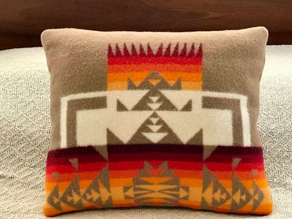 Wool Decorative Pillow / Accent Pillow / Rustic Pillow Tan Chief Joesph