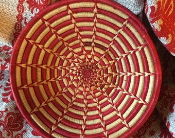 Red and Natural Straw Coil Basket