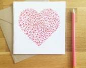love heart greeting card - valentines - anniversary - watercolour print - limited