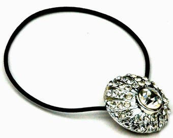 Rhinestone Hair Accessory, Ponytail Holder, Asymmetrical Shape, Silver Metal, Brilliant Stones, Made with Vintage Button, Glamour Accessory