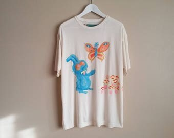 White Bamboo Jersey T-shirt with Hand Painted Original Artwork. One of a Kind. Bunny, Magic Mushrooms, Butterfly. Size Unisex Large