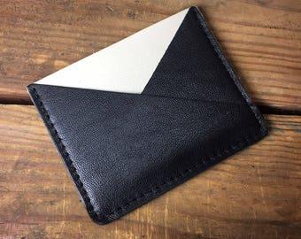 creme leather card holder, minimalist wallet, mens leather wallet, mens front pocket wallet, front pocket wallet, money clip
