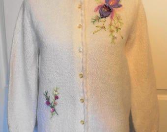 Vintage Cream Mohair Cardigan Sweater Mohair Orchid Flower Shouldereze of Souffle B36