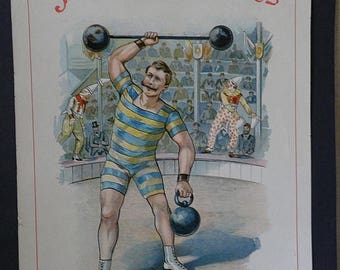 christmasinjuly Antique Print JEU DES ATHLETES, French Page, Poster Strongman